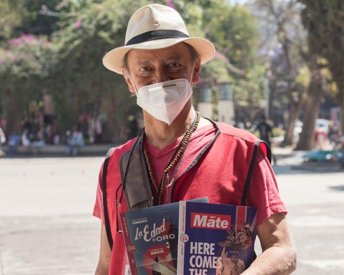 The valedores selling the magazine in Mexico City